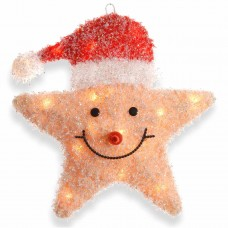 "18"" smiling yellow star with red hat and 20 lights"