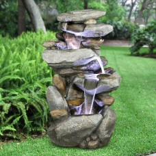 "40"" Tall Rock Waterfall Floor Fountain w/ LED"