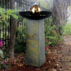"35"" Tall Sleek Floor Fountain in Natural Green Slate with Copper Finish and Stainless Steel Ball"