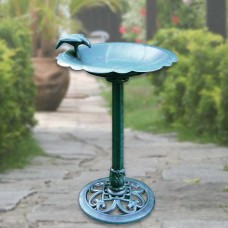 "32"" Tall Birdbath & Feeder w/ Bird Figurine"