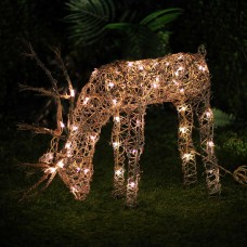 "25"" Grazing Rattan Reindeer with 50 Halogen Lights"
