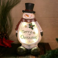 "15"" Christmas Snowman Light Up Statue Decor"