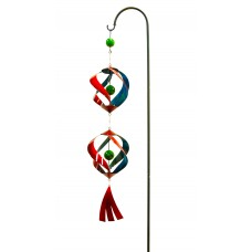 Red and Blue Metal Wind Spinner with Shepherd's Hook