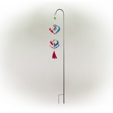 """40"""" Red and Blue Metal Wind Spinner with Shepherd's Hook"""