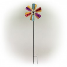 Colorful Bejeweled Windmill Spinner Garden Stake