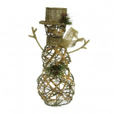 "18"" Rattan Snowman w/ 20 Warm White LED Lights"