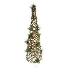 "24"" Rattan & Berry Christmas Cone Tree w/ 20 LED Lights"
