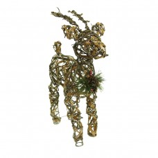 "23"" Rattan & Berry Reindeer Decor w/ 10 LED Lights"