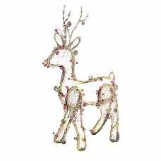 "22"" Christmas Rattan Light-up Reindeer Decor"