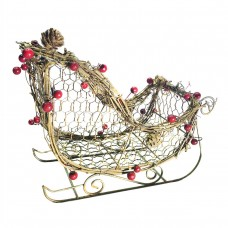"8"" Christmas Rattan Light-up Sleigh Decor"