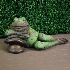 Sleeping Frog on Mushroom Statue