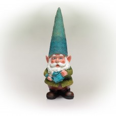 """15"""" Blue Hat Gnome Garden Statue with Blue Water Can on Hand"""