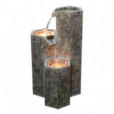 "25"" Three Tiering Hexagonal Columns Fountain with LED Light"