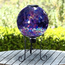 "Solar 10"" Purple Mosaic Gazing Globe with Metal Stand"