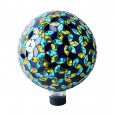 "10"" Mosaic Glass Gazing Globe  Blue/Yellow"