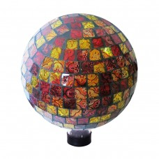 "10"" Mosaic Glass Gazing Globe Red/Gold"