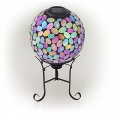 Solar Mosaic Gazing Ball with Metal Stand