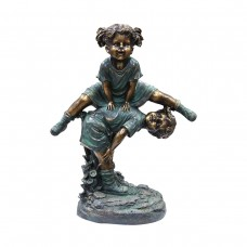"26"" Tall Bronze Girl Jumping Over Boy Statue"