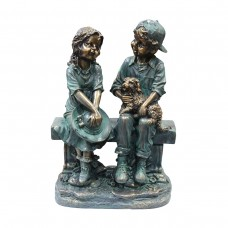 "16"" Tall Girl and Boy Sitting on Bench with Puppy Statue"