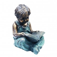 """19"""" Tall Boy Sitting Down Reading Book Statue"""