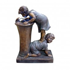 "27"" Tall Boy and Girl Drinking Water Fountain with LED Light"