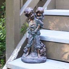"16"" Boy Giving Piggyback Ride Statuary"