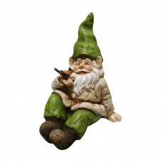 "17"" Tall Gnome Laying Down with Bird Statue"