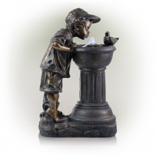 """27"""" Boy Drinking Water Out of Fountain with LED Light"""