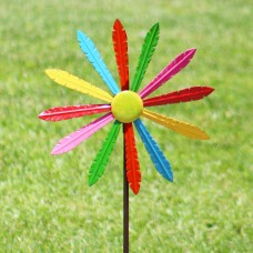 "54"" Multi-Color Metal Windmill w/ Stake & Fence Topper"