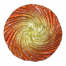 "18"" Orange Swirl Birdbath Topper"