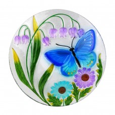 "18"" Blue Butterfly and Flowers Birdbath Topper"