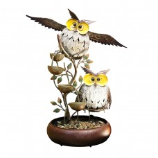 "31"" Tall Metal Tiering Owl Fountain"