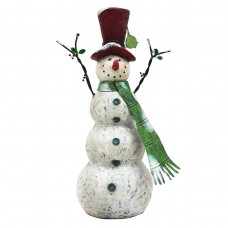 Chistmas Tall Snowman with Green Scarf