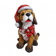 Dog wearing Santa Hat & Red Scarf Décor w/3 LED Lights