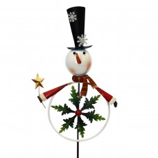 etal Snowman with Kinetic Snowflake Garden Stake