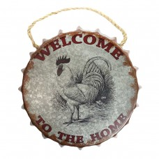 """Welcome"" Rooster Bottle Cap Wall Décor"