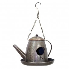 Metal Tea Pot Birdhouse With Plate