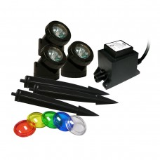 Power Beam 20W 3-Set Pond Lights w/ Stakes Lenses & Transformer