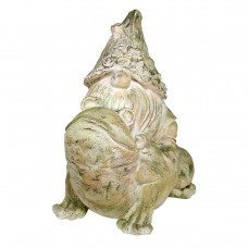 """20"""" Frog Rider Gnome Garden Statue with Mossy Finish"""
