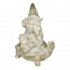 """20"""" Fiddler Gnome on Turtle Garden Statue with Mossy Finish"""