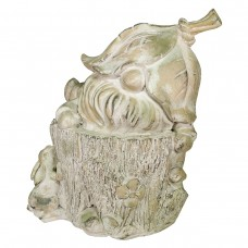"""17"""" Peeking Gnome with Pet Hare Garden Statue with Mossy Finish"""