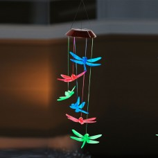 "27"" Solar Butterflies Wind Chime with Color Changing LEDs"