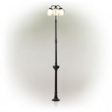 """75"""" Solar 3 Globe Glass LED Light Post"""
