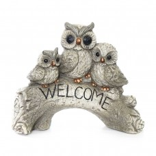 """Owl Family """"Welcome"""" Statue"""