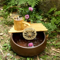 Bamboo Fountain With Plant Holder & Stream