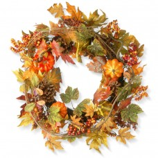 "24"" Maple Wreath with Pumpkins"