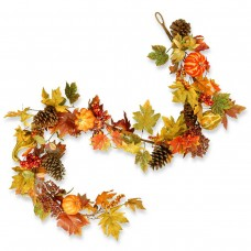 "72"" Maple Garland with Pumpkins"