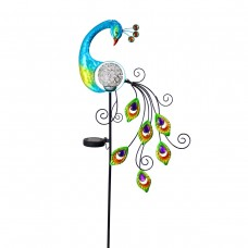 "48"" Solar Peacock with Color Changing LED Stake"