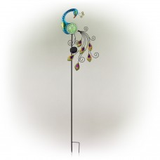 """48"""" Solar Peacock with Color Changing LED Stake"""