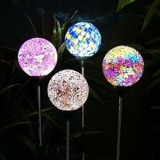 Alpine Solar LED Mosaic Glass Garden Stake